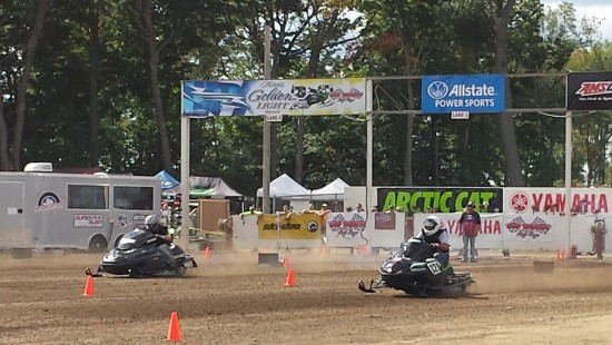 Snowmobile drag race at Haydays.