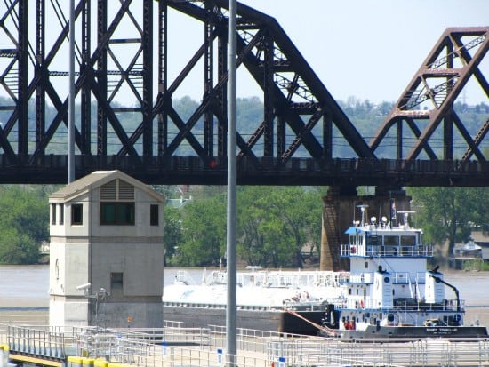 Ship at McAlpine Locks & Dam