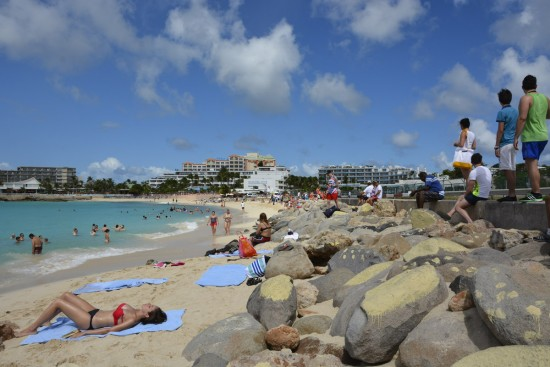 Maho Beach on the Caribbean Sea on St. Maarten Island.