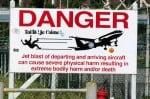 Airport warning sign