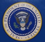 Seal of the U.S. President on the Air Force 1 plane.