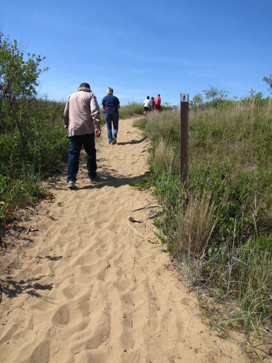 Climbing the sandhills.
