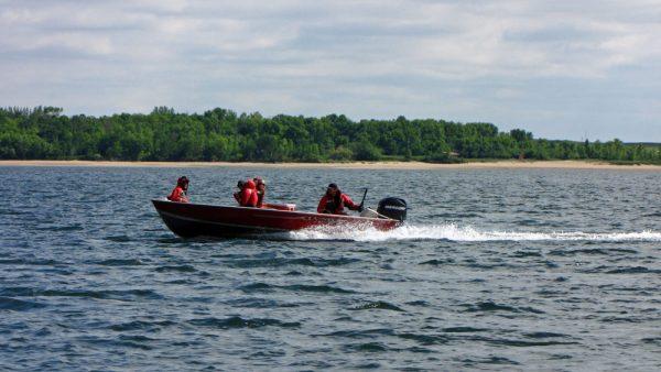 Boating on Lake Diefenbaker.