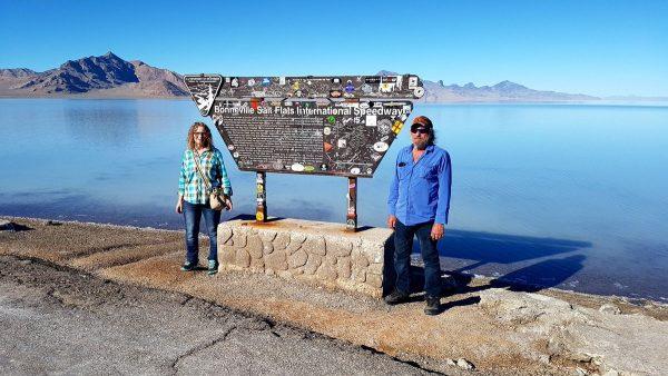 David Aksomitis & Linda Aksomitis at Bonneville Salt Flats.