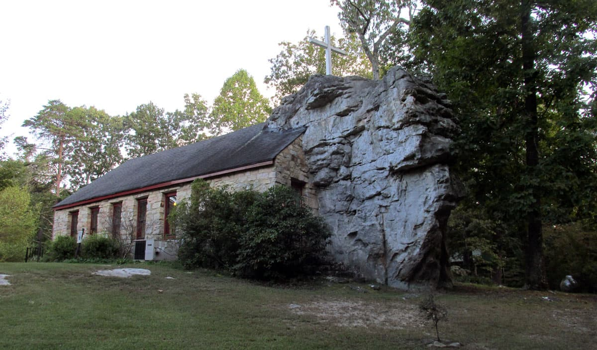 Alabama's Beautiful Little Stone Church Built Around a Rock