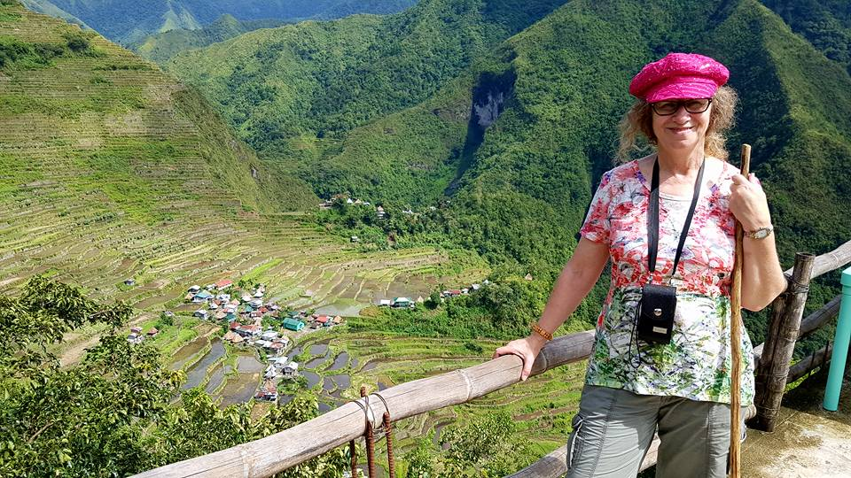 Linda Aksomitis at the Banaue Rice Terraces in the Philippines.