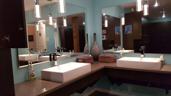 Dressing room at the Spa des Neiges outside Quebec City.