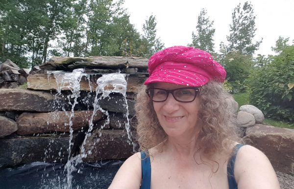 "A selfie of Linda Aksomitis in the ""cool"" pool!"