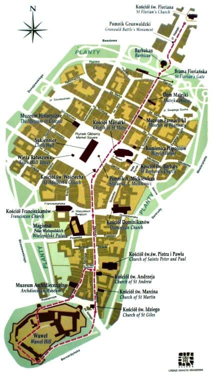 Map of Krakow Old Town Square.