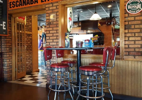 Hudson's Classic Grill with a 50s theme interior in Escanaba, Michigan.