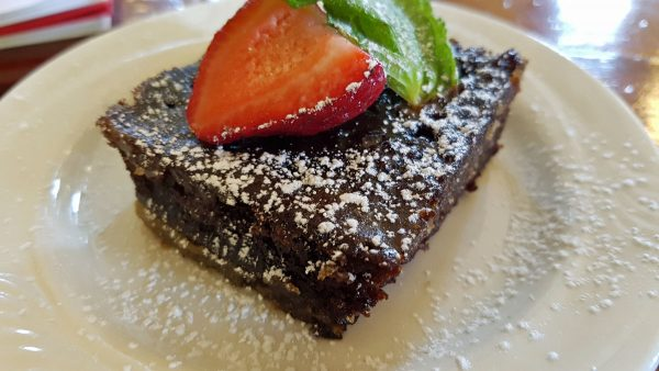 Chocolate cake at Stone Hill Winery Vintage Restaurant.