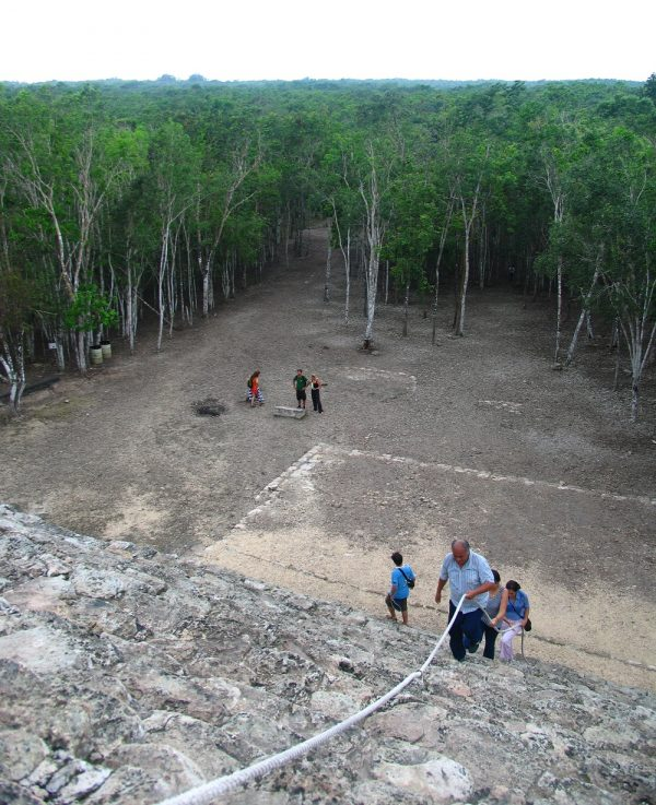 Climbing a pyramid at Coba in the Yucatan in Mexico.