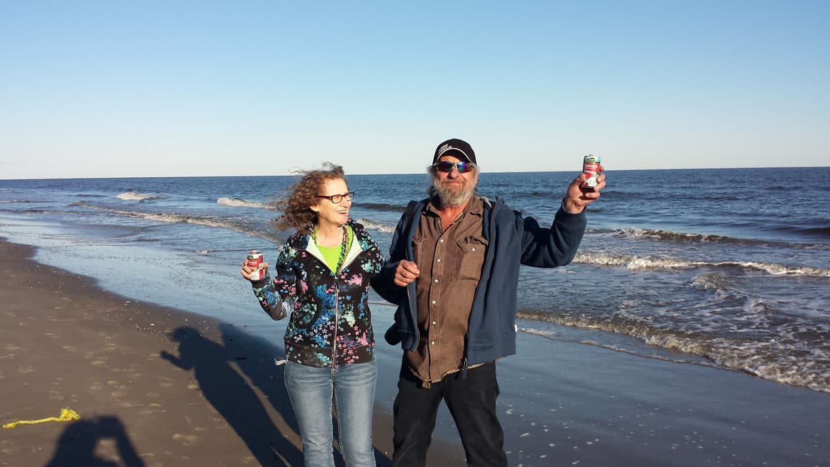 David Aksomitis & Linda Aksomitis on Grand Isle, Louisiana.