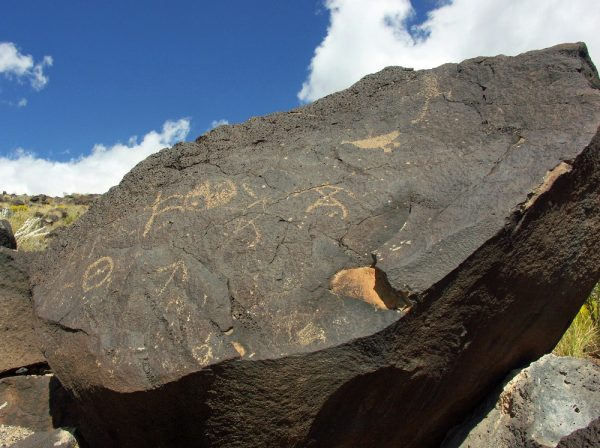 Rock carvings at Petroglyph National Monument in Albuquerque.