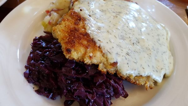Schweineschnitzel served at Stone Hill Winery Vintage Restaurant in Hermann, Missouri.