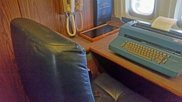 President Reagan's desk and typewriter while flying on Air Force One.