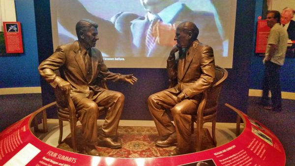 Statues of Reagan and Gorbachev at a Summit