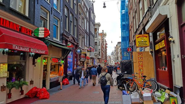 Businesses on streets in the Old Centre of Amsterdam.