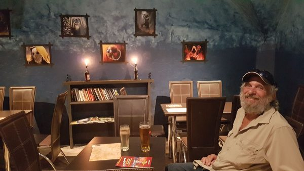 David Aksomitis at the R'Lyeh Cafe in Old Town in Krakow.