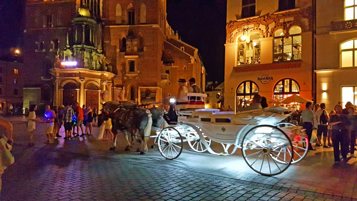 Horses and carriages are the only public transportation inside Old Town Krakow.