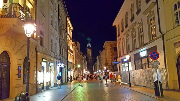 Busy streets while bar hopping in Old Town Krakow.