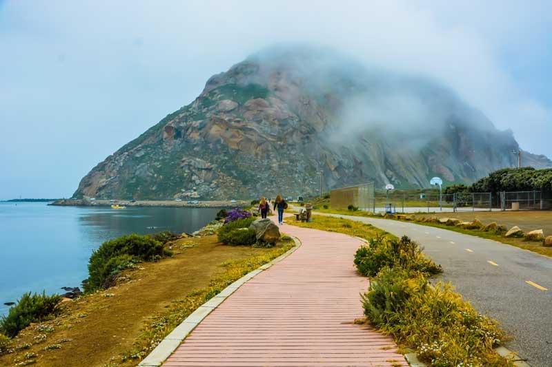 Boardwalk at Morro Bay, California, to explore the tidal flats and Morro Rock.