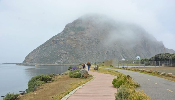 Boardwalk at Morro Bay, California, to explore the tidal flats and Morro Rock.