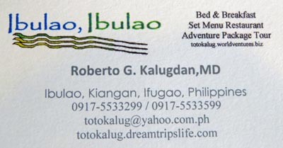 Business Card for Ibulao, Ibulao Bed & Breakfast Restaurant.
