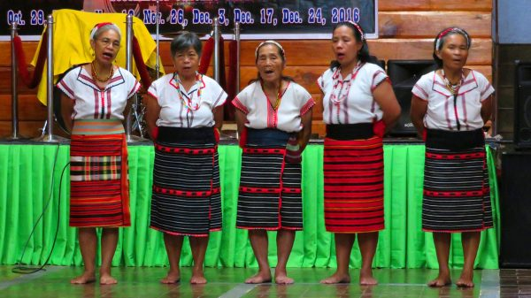 Ifugao dancers performing a cultural show at the Banaue Hotel and Youth Hostel in Ifugao, Philippines.