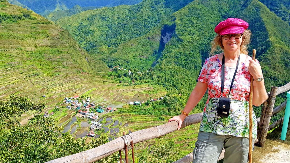 Linda Aksomitis at the Banaue Rice Terraces.