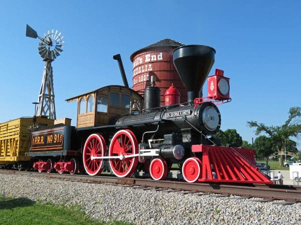 Historic train that's part of the Trail's End Monument in Sedalia, Missouri.
