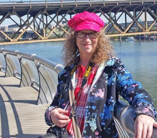 Linda Aksomitis in Portland, Oregon, along the Willamette River.