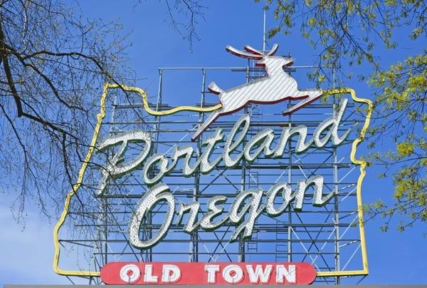 Portland Oregon Old Town sign.