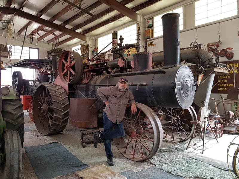 Early 1900 steam tractor with David Aksomitis.