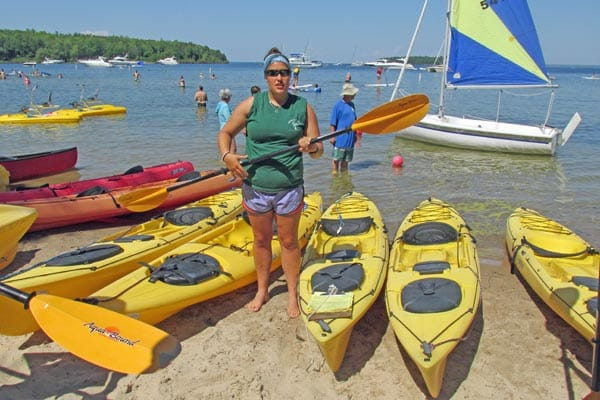 Kayak lessons at Nicolet Beach Rentals in Peninsula State Park.