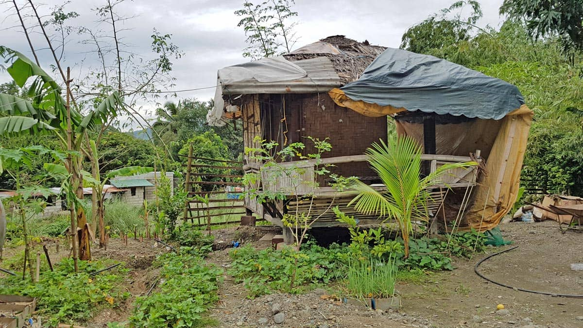 Rural house made with wood, tarps, and tin.