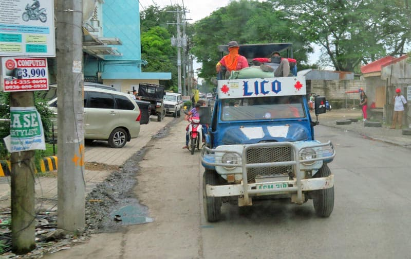 Jeepney truck and town