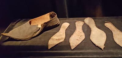 Medieval shoe forms at the Medieval Museum in Stockholm.