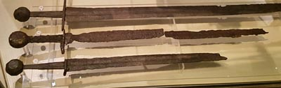 Medieval swords at the Medieval Museum in Stockholm.
