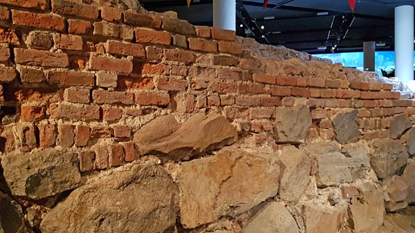 Old wall of city in Medieval Museum in Stockholm.