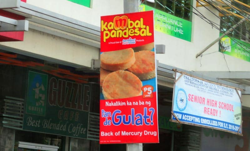 Signs on town stores in the Philippines