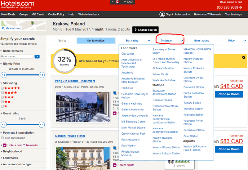 Screen capture of Distance search on Hotels.com.