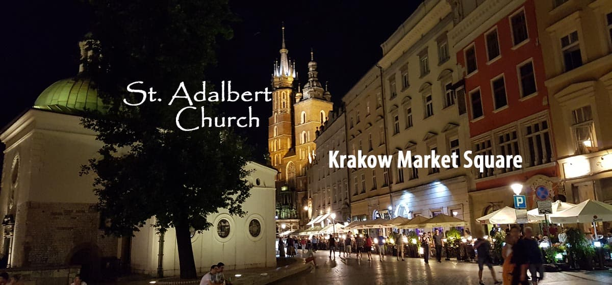 St. Adalbert Church in the Krakow Market Square in Poland.