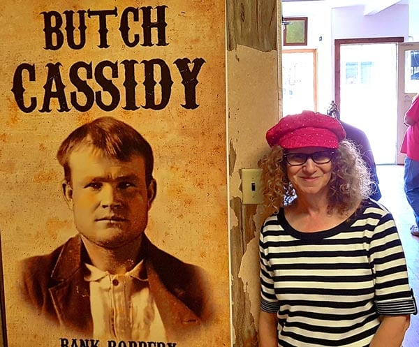 Linda Aksomitis with Butch Cassidy at the Butch Cassidy Museum in Montpelier, Idaho.