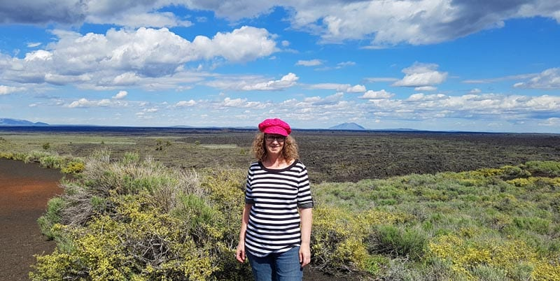 Linda Aksomitis just outside the Craters of the Moon monument area, where the Sagebrush Step Grasslands meet with the Lava Fields.