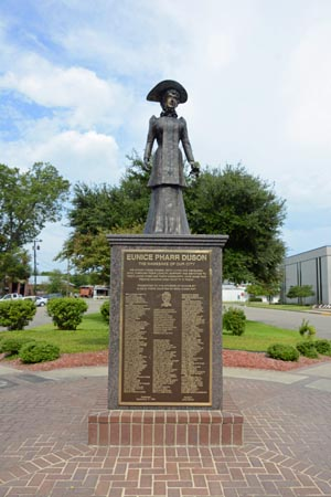 Statue of Eunice, wife of the founder of the city of Eunice in Louisiana.