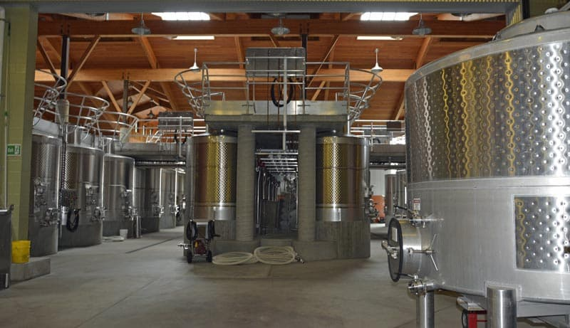 Inside winery at Halter Ranch in California.