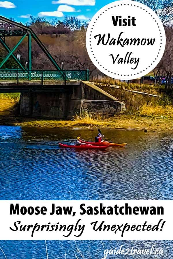 Paddling the Moose Jaw River in Wakamow Park in Moose Jaw, Saskatchewan