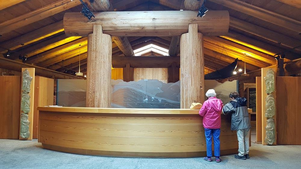 Immense cedar poles in the lobby of the Museum of Northern BC