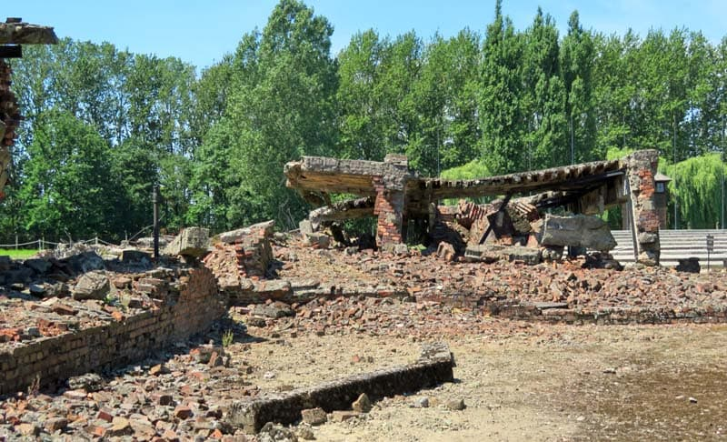 The buildings and gas chambers at Birkenau are crumbling remains.